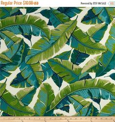 Miami Style Tropical Palm Leaves Outdoor Fabric, Aqua Turquoise Navy Green Fabric, Banana Leaf Upholstery Fabric by the yard