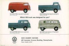 Volkswagen T1: Transporter, Pick-Up Simple Cabin,Pick-Up Double Cabin y Combi.
