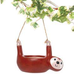 Buy Sloth Ceramic Hanging Flowerpots at Baker Ross.Our superb Sloth Ceramic Hanging Flowerpo Flower Pot Art, Flower Crafts, Flower Pots, Little Plants, Small Plants, Porcelain Paint Pens, Crafts For Kids, Arts And Crafts, Ceramic Pots