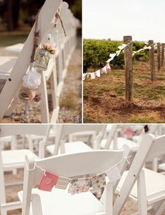 ceremony decor, chairs  bunting