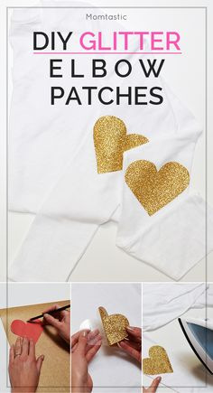Add a little sparkle to any piece of clothing or accessory! These DIY glitter heart elbow patches will turn any plain tee into a fun piece you'll want to wear all the time! Red Glitter, Glitter Outfit, Glitter Shirt, Glitter Hearts, Glitter Rosa, Glitter Eyeliner, Glitter Force, Glitter Projects, Vinyl Projects