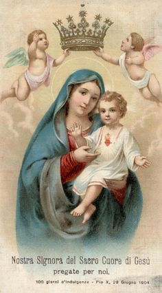 Nostra Signora del Sacro Cuori di Gesù An Italian holy card of Our Lady of the Sacred Heart (of Jesus).