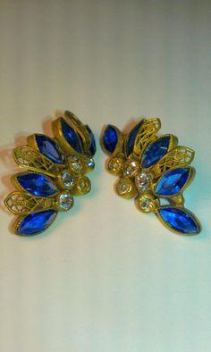 Beautiful Sandor Signed Blue Rhinestone Earrings by 9thStVintage, #vjse2 #boebot #etsybot2 #vintage #jewelry $14.95