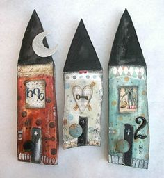 Assemblage House Gallery lovely mixed media houses by Lisa Kaus Should you love arts and crafts you will enjoy our website! Clay Projects, Clay Crafts, Home Crafts, Diy And Crafts, Arts And Crafts, Paper Crafts, Clay Houses, Ceramic Houses, Paper Houses
