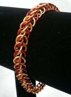 Red orange and gold half persian chainmaille by galiam34jewelry, $16.00