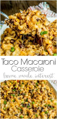 Taco Macaroni Casserole | This taco macaroni casserole is an easy taco bake recipe that makes a great weeknight dinner. Full of all of your favorite tex-mex flavors this is a taco casserole recipe that puts a fun spin on taco night! Turn your typical macaroni and cheese recipe into a spicy southwest comfort food with this easy taco macaroni casserole. #casserole #taco #macaroniandcheese #groundbeef #cheese #homemadeinterest via @hmiblog