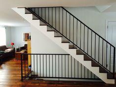 Escalier en merisier et rampe en métal
