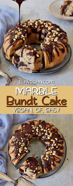 This Marble Bundt Cake is soft, moist, and delicious! The chocolate marble makes. - Cooking and eating - snacks and sweets - Bundt Cake Desserts Végétaliens, Best Vegan Desserts, Vegan Sweets, Healthy Dessert Recipes, Bolo Vegan, Cake Vegan, Banana Bread Cake, Banana Bread Recipes, Food Cakes