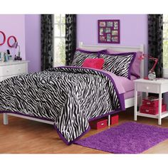 Zebra print comforters can make home like a vacation! I want this for my new room :) Zebra Print Bedroom, Zebra Bedding, Black Bedding, Purple Bedding, Purple Zebra Bedroom, Girl Bedding, Teen Girl Comforters, Girls Comforter Sets, Bedding Sets