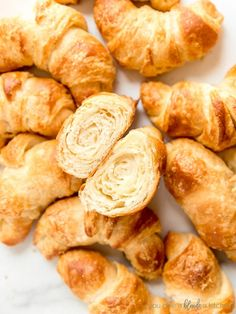 croissants on white surface and one croissant cut open showing layers inside Bake Croissants, Making Croissants, Homemade Croissants, Perfect Breakfast, Breakfast Time, Homemade Crescent Rolls, Croissant Recipe, Cooking 101, Instant Yeast