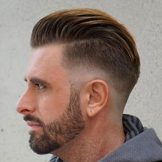 Low Drop Fade with Textured Slicked Back Hair
