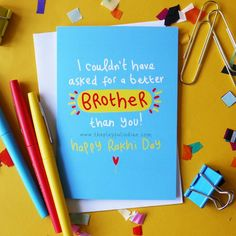 No Better Brother - Raksha Bandhan Greetings CardIs your brother the best? If so this is the perfect Raksha Bandhan greeting card for him. I'm sure he will be so proud, even though we all argue with our siblings, we love them the most. Pick this card and tell your brother he's the best but remember one thing, I can't promise this won't give him a big head :)- Card measures 150 x 105mm.- Printed on 300gsm card stock with a slight gloss finish.- This card is blank inside.- A white envelope is prov Raksha Bandhan Photos, Raksha Bandhan Cards, Raksha Bandhan Gifts, Happy Raksha Bandhan Wishes, Raksha Bandhan Greetings, Diy Rakhi Cards, Rakhi Day, Rakhi Greetings, Birthday Cards For Brother