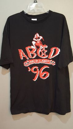 #Vintage '96 Size XL ABCD CAMP Black and Red T-Shirt by #ADIDAS  #NBA Made in the USA
