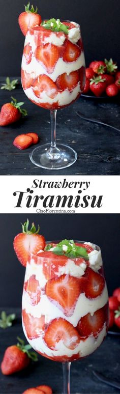 Easy Strawberry Tiramisu Dessert With Italian Mascarpone, Ladyfinger cookies and Fresh Strawberries  Can be made with or without eggs, keep it kid friendly or add alcohol for a grown up treat | CiaoFlorentina.com @CiaoFlorentina