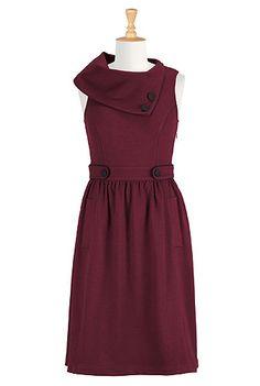 Burgundy ponte knit dress