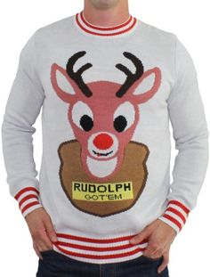 Ugly Christmas Sweater - Mounted Rudolph Sweater (White) by Tipsy Elves - XX-Large