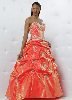 reddish orange prom dress