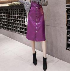 New purple faux leather high waist button down midi length petite women skirt Black Faux Leather, Pu Leather, Leather Midi Skirt, Midi Length Skirts, Petite Women, Button Downs, High Waisted Skirt, Buttons, Purple