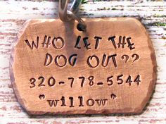 Hand Stamped Personalized Copper Dog Tag Pet ID by talktothepaws