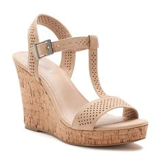 c6999c28439a Style Charles by Charles David Link Women s T-Strap Wedge Sandals Nude  Wedges