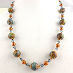 Autumn Winds Beaded Lampwork Necklace Beadwork by ramonahall