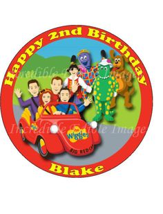 19cm-Round-Personalised-Wiggles-Big-Red-Car-Friends-Edible-ICING-Cake-Topper