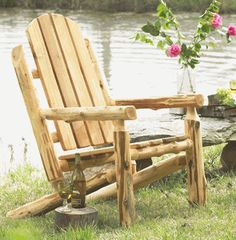 Log Adirondack Chair - Exterior Finish & Make Log Furniture Any Way You Like It | Pinterest | Log cabin ...
