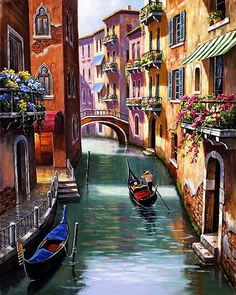 Diamond Painting City Water City of Venice DIY Diamond Embroidery Venice Street Scenery A Picture Of Rhinestones Needlework Venice Painting, Italy Painting, Beautiful Paintings, Beautiful Landscapes, Belle Image Nature, 5d Diamond Painting, Pictures To Paint, Painting Inspiration, Landscape Paintings