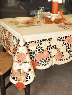 Autumn Elegance Tablecloths. So Classy And Unique For The Fall! #Leaves