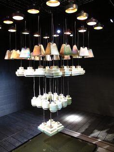 Tom Dixon´s Fin Series Lighting installation at Salone di Mobile ..