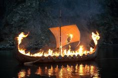 norse burial rituals | Viking boat funeral, via the Good Funeral Guide Burning the dead in a ship was a common occurance, especially for great warriors.