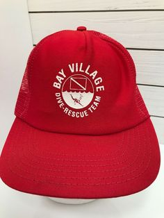 eaa07facee6 Bay Village Dive Rescue Team Red White Trucker Mesh Hat Snapback Vintage  USA  P  . Baseball Caps ...