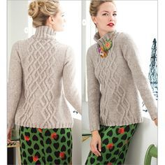 A-LINE CABLE MOCK TURTLENECK  Vogue Knitting Magazine Holiday 2013 #25  Design by Melissa Leapman