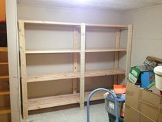 Welcome to the website of Ana White, your source for great DIY furniture and woodworking projects. Choose from a variety of great free woodworking plans! Basement Storage Shelves, Garage Storage Cabinets, Diy Garage Storage, Garage Shelving, Garage Shelf, Garage Organization, Storage Room, Kitchen Storage, Diy Kitchen
