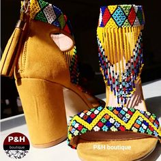 Yellow beaded heel - P&H Menlyn Mall African Traditional Wedding Dress, African Fashion Traditional, African Wedding Attire, African Weddings, Xhosa Attire, Shoe Refashion, How To Make Tutu, Beaded Shoes, African Accessories