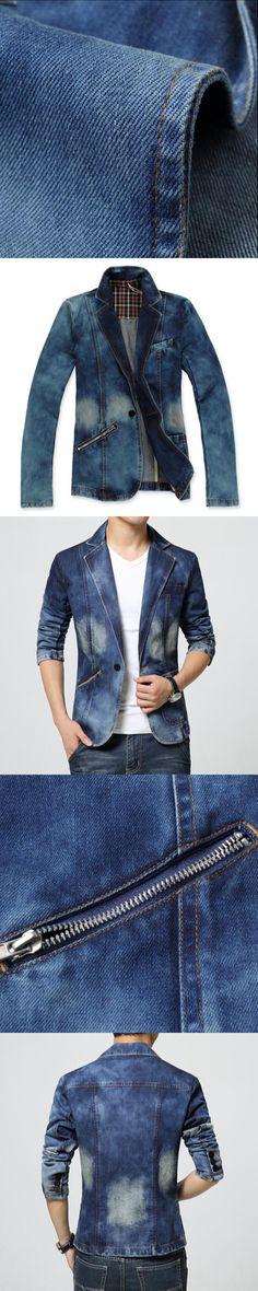2017 New Spring Fashion Brand Men Blazer Men Trend Jeans Suits Casual Suit Jean Jacket Men Slim Fit Denim Jacket Suit Men