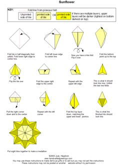 Sunflower tea bag fold instructions