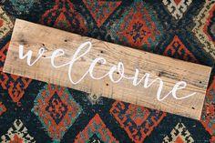 Welcome - Handmade Reclaimed Barn Wood Sign 26-in