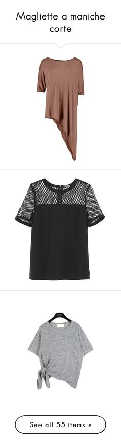 """""""Magliette a maniche corte"""" by piccolauby ❤ liked on Polyvore featuring tops, henley tops, brown tops, brown tank top, women tops, oversized tops, blouses, shirts, rich black poly spandex and transparent blouse"""
