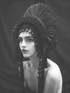 Black Pleated Headdress - sculptural fashion accessories; couture headpiece