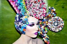 Art Deco Headdress headpiece wig burning man recycled art boho gypsy lolita photography prop. $299.00, via Etsy.