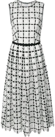 Carolina Herrera geometric lace pleated dress