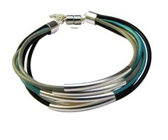 Silver beads with multi leather cords bracelet women