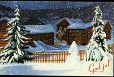 Julekort Jørgen Thorsrud utg Børrehaug og Remen 1940-tallet Native Style, Indigenous Art, Christmas Postcards, Norway, Nativity, Decoupage, Sign, Noel, Landscapes