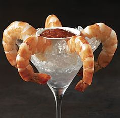 Jumbo Shrimp Cocktail--This classic appetizer if the perfect starter for a mad Men viewing party. Via FineCooking.com