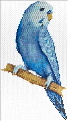 Cross Stitch | Blue Parakeet xstitch Chart | Design