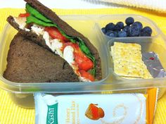 Roasted Chicken Sandwich (on pumpernickel), blueberries, crackers & cheese, Kashi granola bar