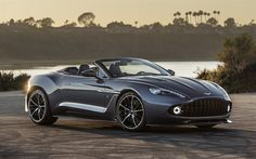 Descargar fondos de pantalla Aston Martin Vanquish, Zagato, coche deportivo, gris Vanquish, puesta de sol, Británico de coches de Aston Martin