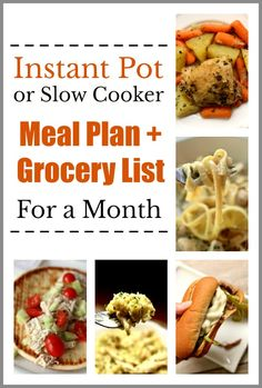 Instant Pot/Slow Cooker Meal Plan for a Month–want a month's worth of dinner ideas that you can make in the Instant Pot or slow cooker? I've got you covered! Here is a menu plan for the next 4 weeks along with a shopping list for each week. #instantpot #slowcooker #mealplan #menuplan #instapot #crockpot