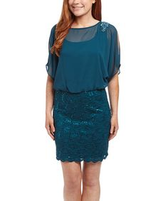 Look what I found on #zulily! Emerald Lace Blouson Dress - Women #zulilyfinds
